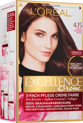 L'Oréal Paris, Excellence Creme Coloration: Cool Chestnut Brown (Color Code: 4.15), One Application