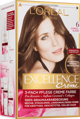 L'Oréal Paris, Excellence Creme Coloration: Dark Blonde (Color Code: 6), One Application