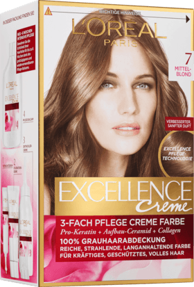 L'Oréal Paris, Excellence Creme Coloration: Middle Blonde (Color Code: 7), One Application