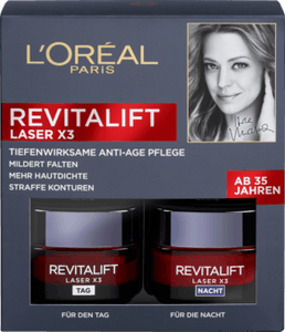 L'Oréal Paris, Revitalift Laser X3 Anti-Age Intensivpflege Tag + Nacht Set, 50 ml + 50 ml (= 100 ml)