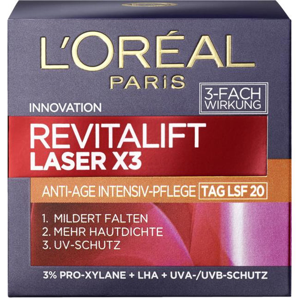 L'Oréal Paris, Laser X3 Anti-Age Intensivpflege Tag LSF 20, 50 ml