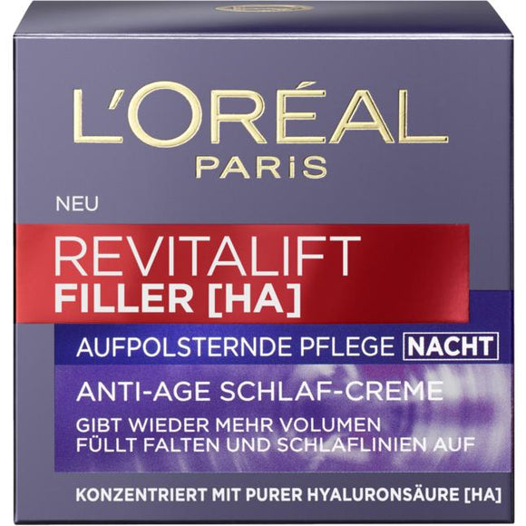 L'Oréal Paris, Revitalift Filler [HA] Aufpolsternde Anti-Age Pflege Nacht, 50 ml