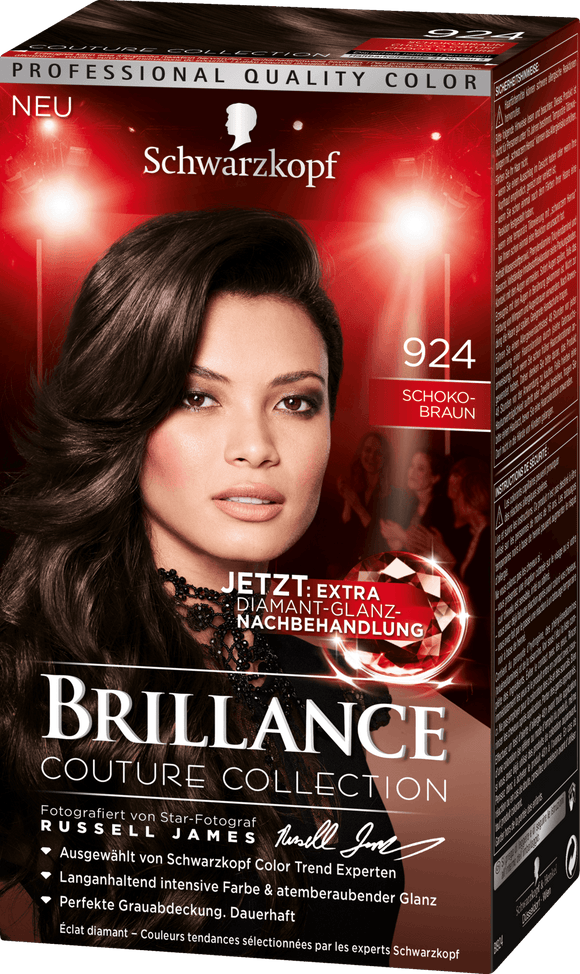 Brillance by Schwarzkopf, Thuốc nhuộm Intensiv Color Creme: Chocolate Brown (Color Code: 924), One Application