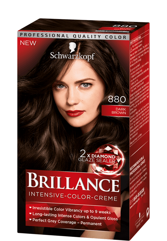 Brillance by Schwarzkopf, Thuốc nhuộm Intensiv Color Creme: Dark Brown (Color Code: 880), One Application