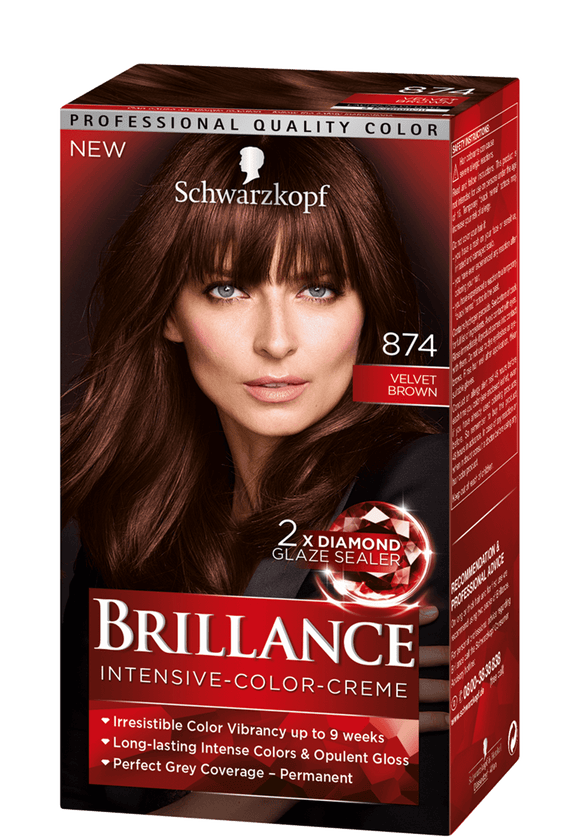 Brillance by Schwarzkopf, Thuốc nhuộm Intensiv Color Creme: Velvet Brown (Color Code: 874), One Application