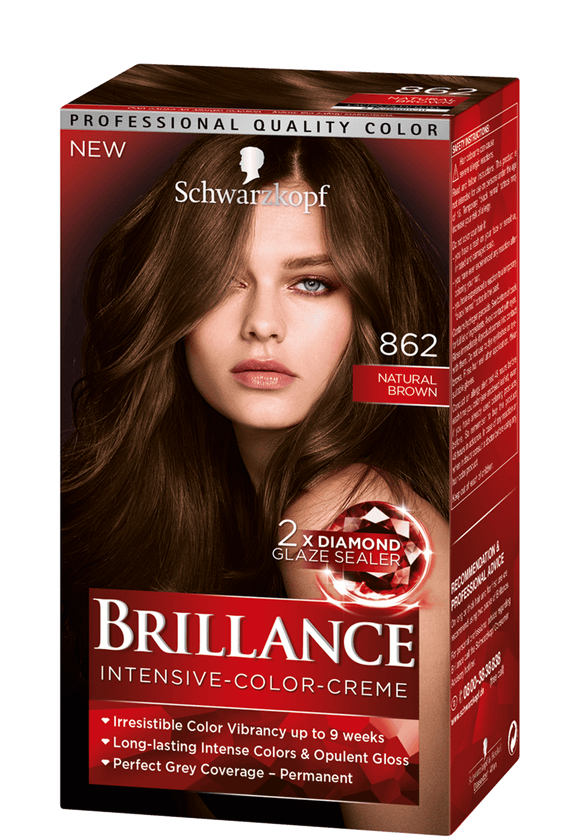 Brillance by Schwarzkopf, Thuốc nhuộm Intensiv Color Creme: Natural Brown (Color Code: 862), One Application