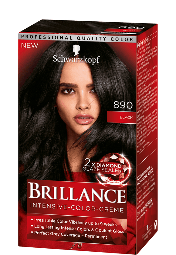 Brillance by Schwarzkopf, Thuốc nhuộm Intensiv Color Creme: Black (Color Code: 890), One Application