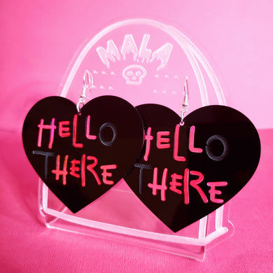 HELL HERE - Catwoman Statement Heart Earrings (BLACK)