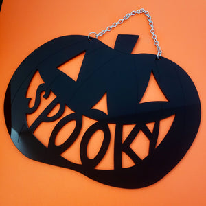 Large Spooky Pumpkin Acrylic Wall Sign
