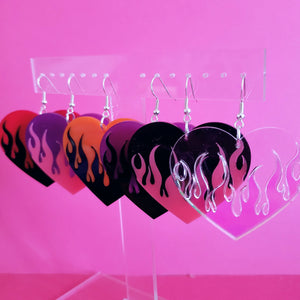 Flame Heart Earrings - Two Tone Color
