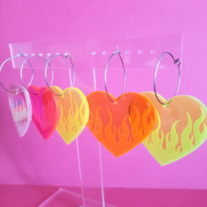 Flame Heart Earrings - Neon and Holographic