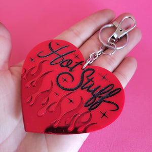 "Large Red Flame Heart ""HOT STUFF"" Keychain- 90's Y2K"