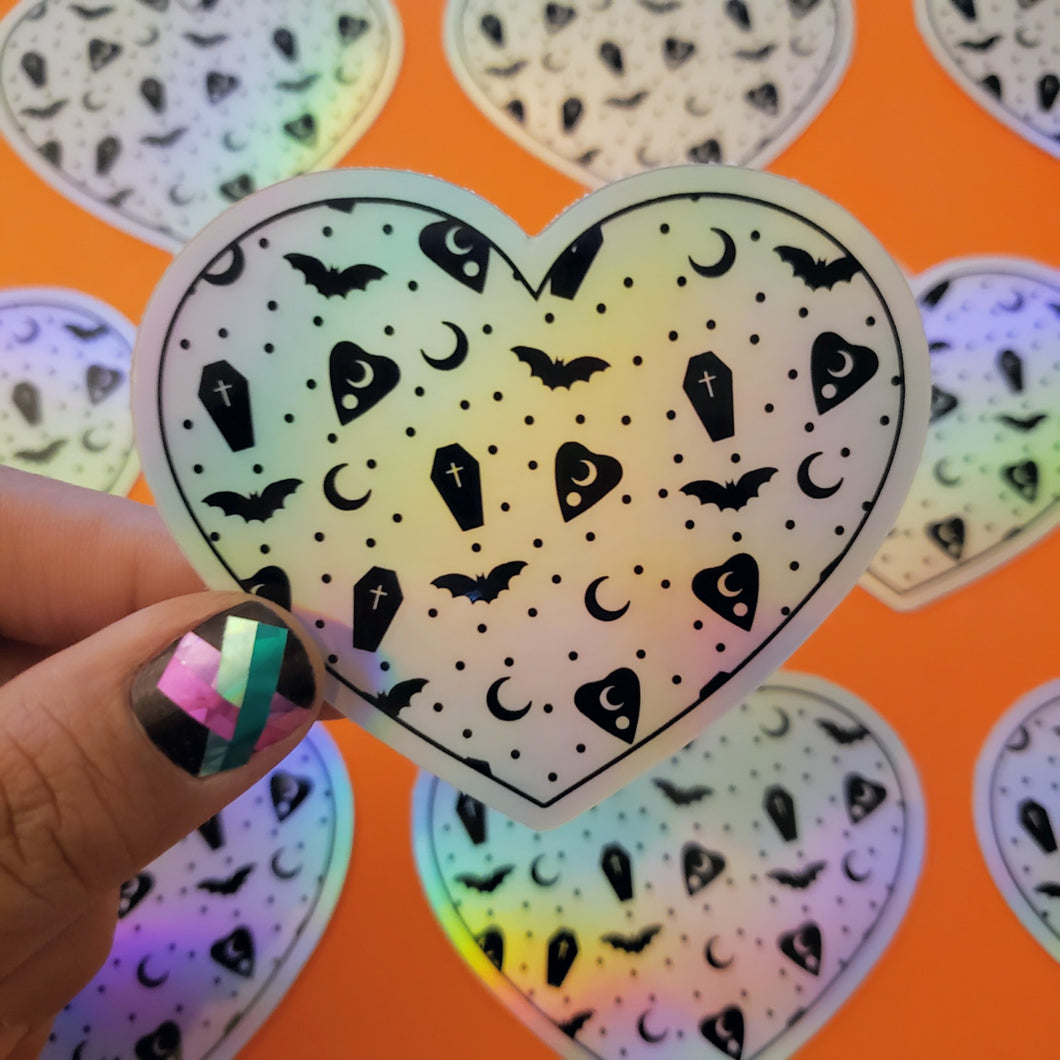 SPOOKY PRINT Holographic HEART STICKER
