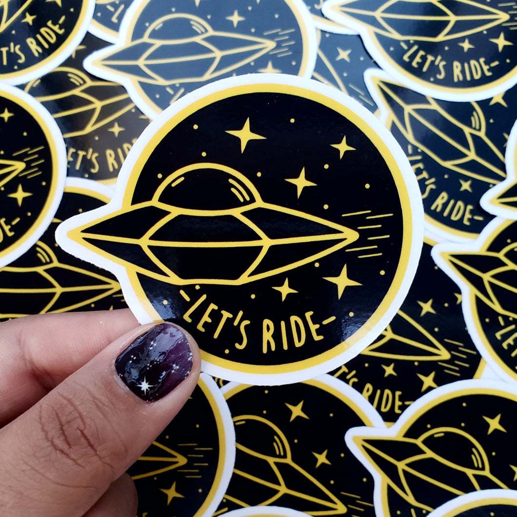 UFO LETS RIDE STICKER - BLACK