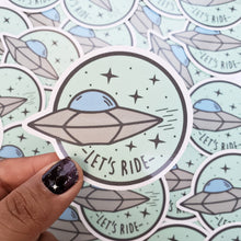 UFO LETS RIDE STICKER - MINT