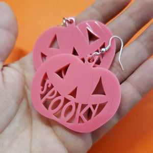 Spooky Pumpkin Earrings - Pink