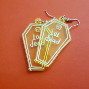 LOL Dead Acrylic Earrings - Neon Green