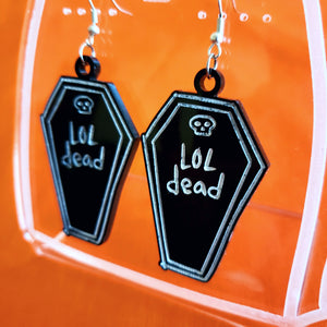 LOL Dead Acrylic Earrings - Black