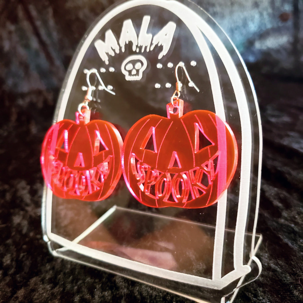 Spooky Pumpkin Earrings - Neon Pink