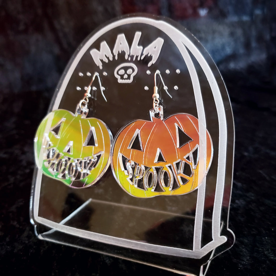Spooky Pumpkin Earrings - Holographic
