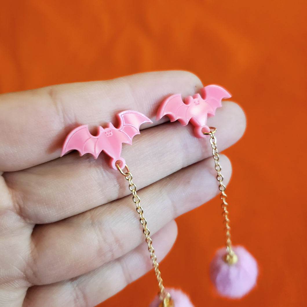 Bat Earrings - Pink