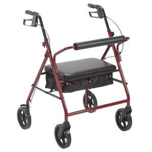 "Drive Bariatric Rollator Rolling Walker with 8"" Wheels- Red"