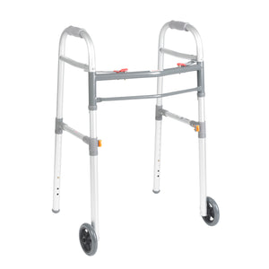 "Drive Two Button Folding Universal Walker with 5"" Wheels"