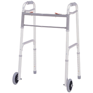"Merits Deluxe Folding Two Button with 5"" wheels & glide tips, 4/ctn W124 Walker - Liberty Medic"