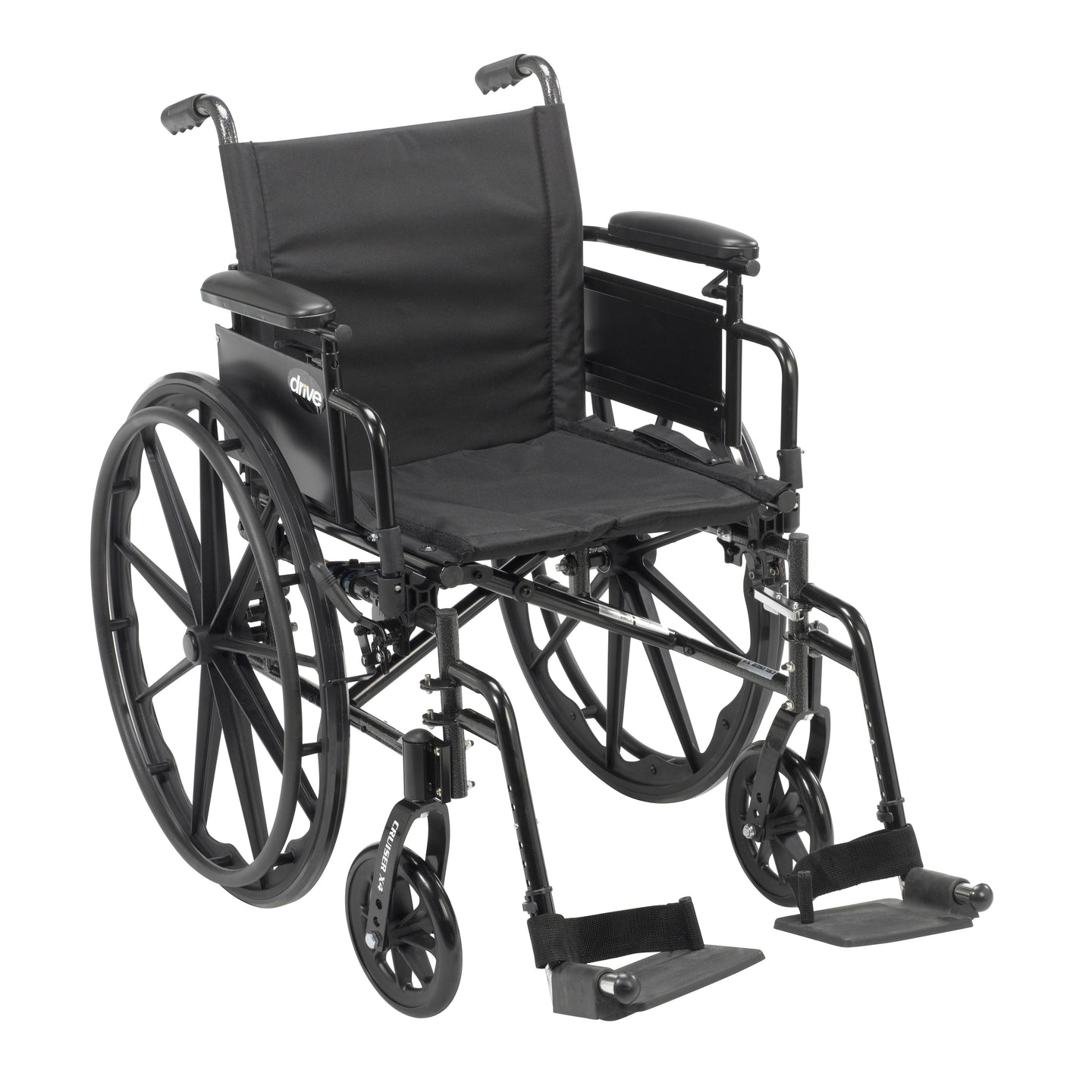 Drive Cruiser X4 Lightweight Dual Axle Wheelchair with Adjustable Detachable Arms- Desk Arms- Swing Away Footrests- 16