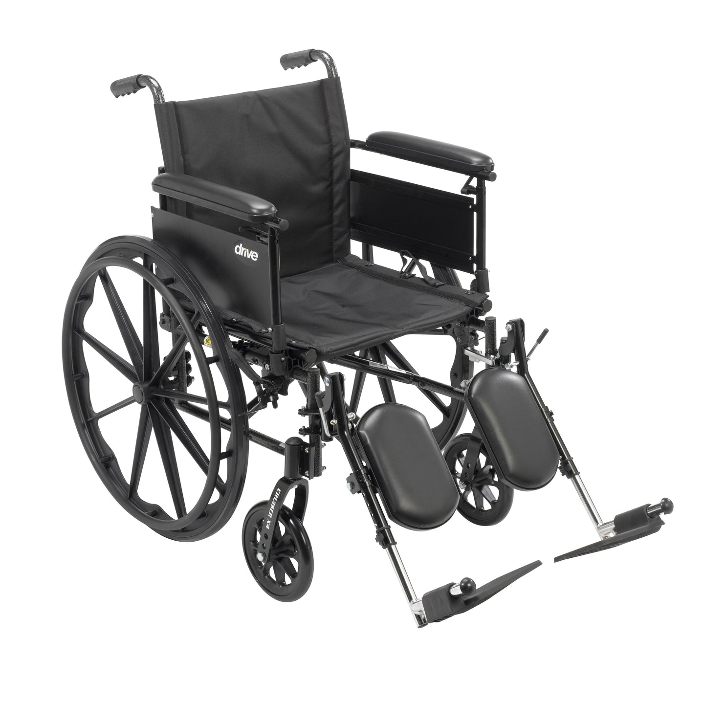 Drive Cruiser X4 Lightweight Dual Axle Wheelchair with Adjustable Detachable Arms- Full Arms- Elevating Leg Rests- 16