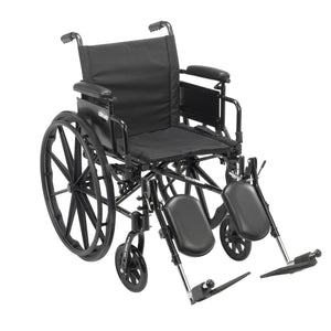 "Drive Cruiser X4 Lightweight Dual Axle Wheelchair with Adjustable Detachable Arms- Desk Arms- Elevating Leg Rests- 20"" Seat"