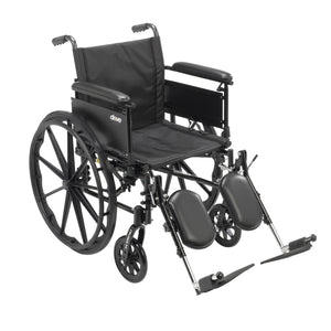 "Drive Cruiser X4 Lightweight Dual Axle Wheelchair with Adjustable Detachable Arms- Full Arms- Elevating Leg Rests- 20"" Seat"