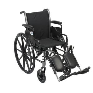 "Drive Cruiser III Light Weight Wheelchair with Flip Back Removable Arms- Desk Arms- Elevating Leg Rests- 16"" Seat"