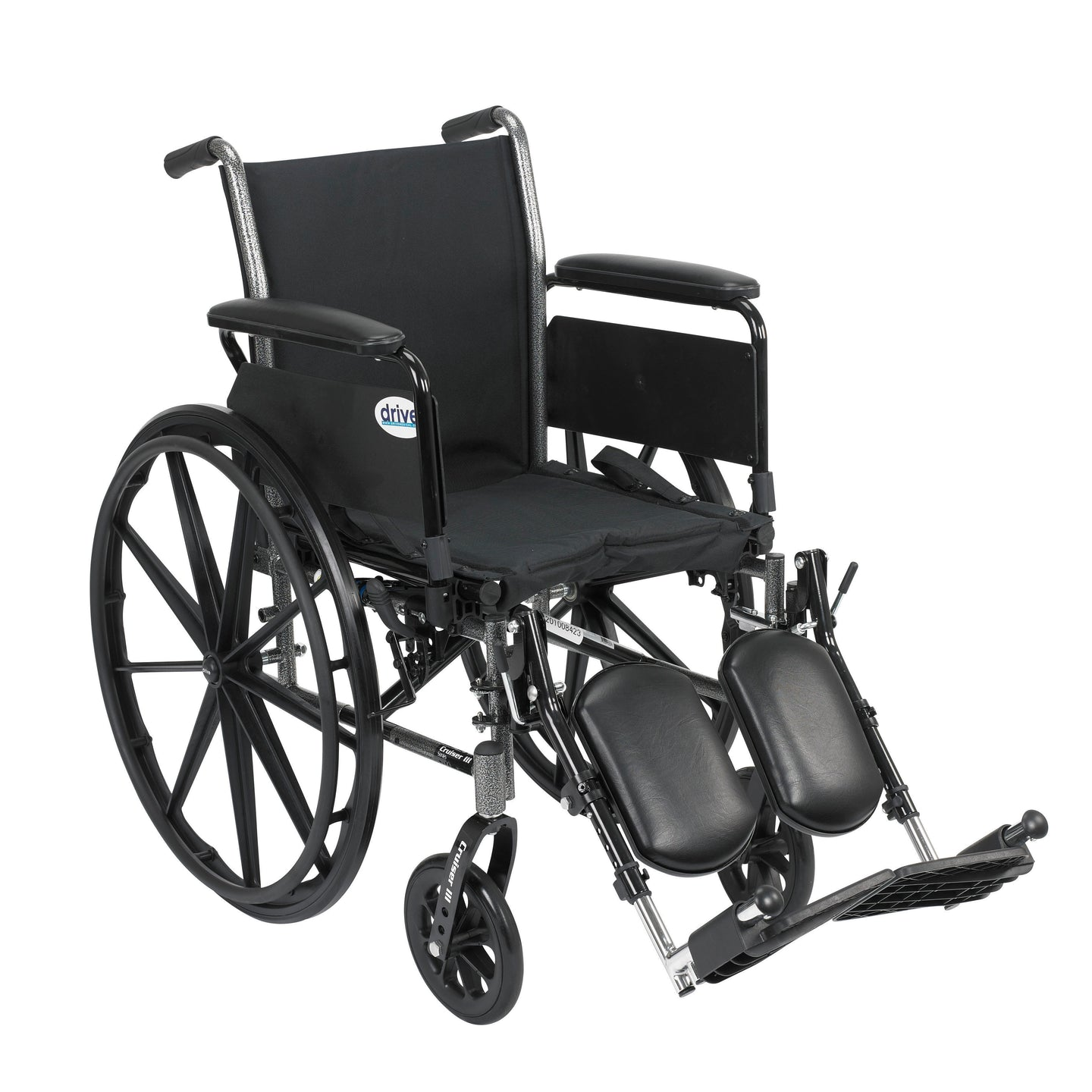 Drive Cruiser III Light Weight Wheelchair with Flip Back Removable Arms- Full Arms- Elevating Leg Rests- 16