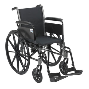 "Drive Cruiser III Light Weight Wheelchair with Flip Back Removable Arms- Full Arms- Swing away Footrests- 16"" Seat"