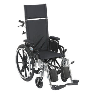 "Drive Viper Plus Light Weight Reclining Wheelchair with Elevating Leg Rests and Flip Back Detachable Arms- 14"" Seat"
