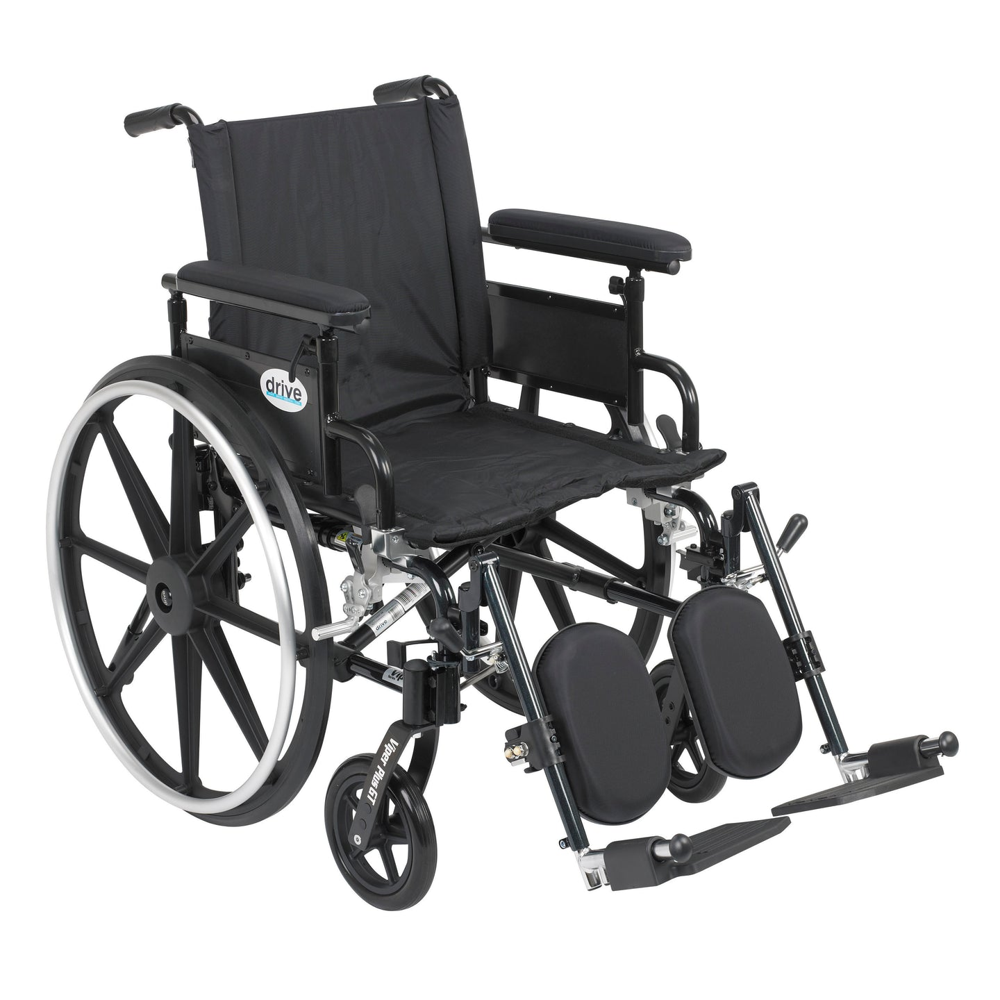 Drive Viper Plus GT Wheelchair with Flip Back Removable Adjustable Full Arms- Elevating Leg Rests- 20