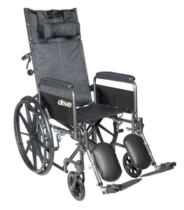 "Drive Silver Sport Reclining Wheelchair with Elevating Leg Rests- Detachable Full Arms- 18"" Seat"