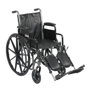 "Drive Silver Sport 2 Wheelchair- Detachable Desk Arms- Elevating Leg Rests- 18"" Seat"
