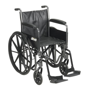 "Drive Silver Sport 2 Wheelchair- Detachable Full Arms- Swing away Footrests- 18"" Seat"