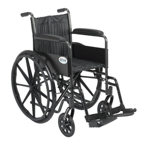 "Drive Silver Sport 2 Wheelchair- Non Removable Fixed Arms- Swing away Footrests- 18"" Seat"