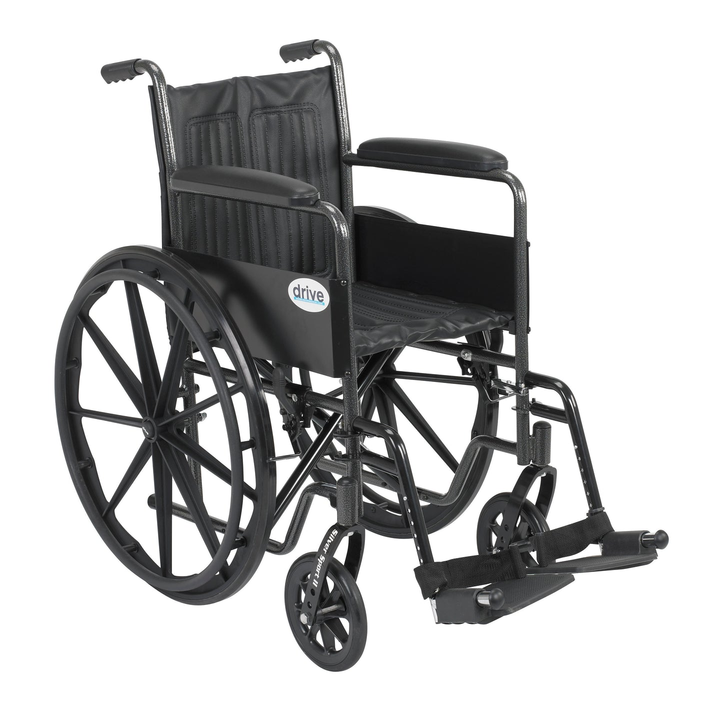 Drive Silver Sport 2 Wheelchair- Non Removable Fixed Arms- Swing away Footrests- 18