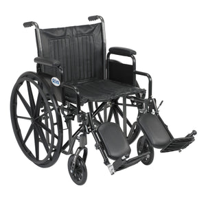 "Drive Silver Sport 2 Wheelchair- Detachable Desk Arms- Elevating Leg Rests- 20"" Seat"