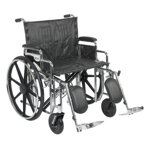 "Drive Sentra Extra Heavy Duty Wheelchair- Detachable Desk Arms- Elevating Leg Rests- 24""Seat"