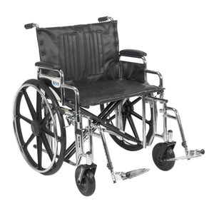 "Drive Sentra Extra Heavy Duty Wheelchair- Detachable Desk Arms- Swing away Footrests- 24"" Seat"