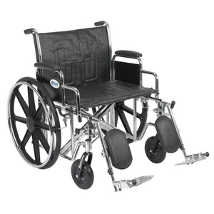 "Drive Sentra EC Heavy Duty Wheelchair- Detachable Desk Arms- Elevating Leg Rests- 24""Seat"