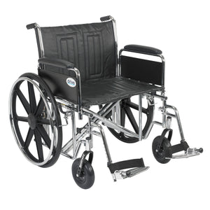 "Drive Sentra EC Heavy Duty Wheelchair- Detachable Full Arms- Swing away Footrests- 24"" Seat"