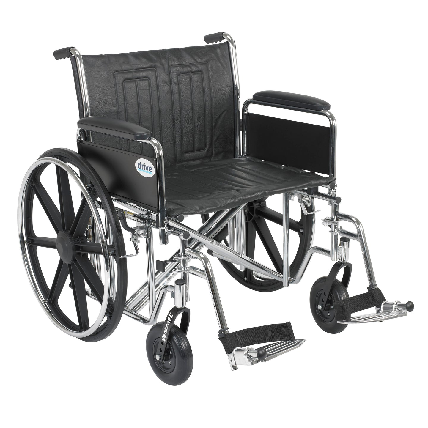 Drive Sentra EC Heavy Duty Wheelchair- Detachable Full Arms- Swing away Footrests- 24
