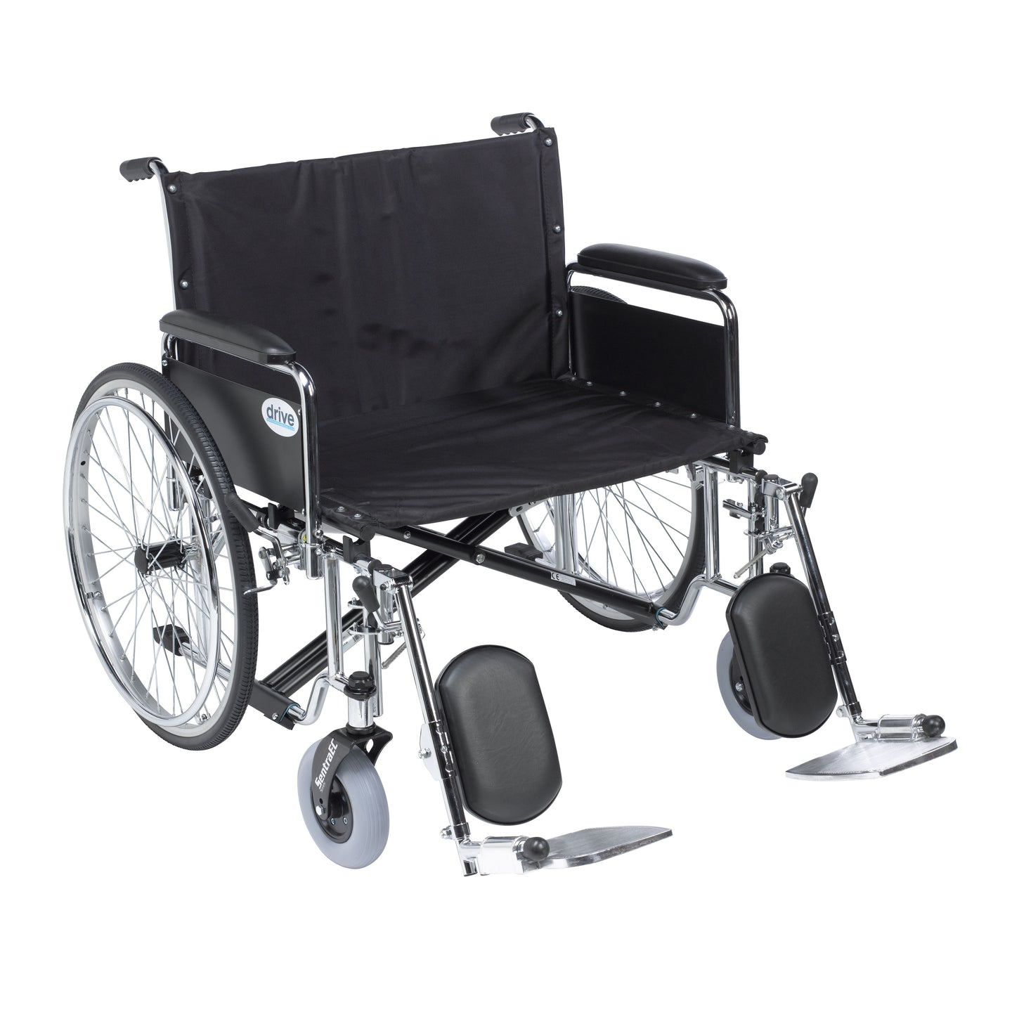 Drive Sentra EC Heavy Duty Extra Wide Wheelchair- Detachable Full Arms- Elevating Leg Rests- 30