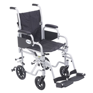 "Drive Poly Fly Light Weight Transport Chair Wheelchair with Swing away Footrests- 16"" Seat"